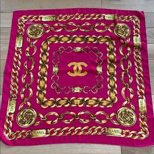 Vintage Chanel 31 Rue Cambon pink gold silk scarf